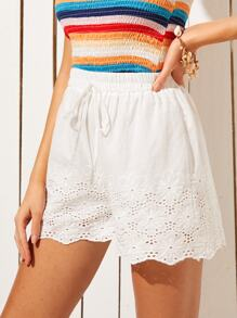 Eyelet Embroidery Scallop Hem Shorts