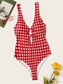 Plus Gingham Knot Front Low Back One Piece Swim