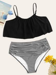 Plus Flounce Top With Striped Ruched Bikini Set