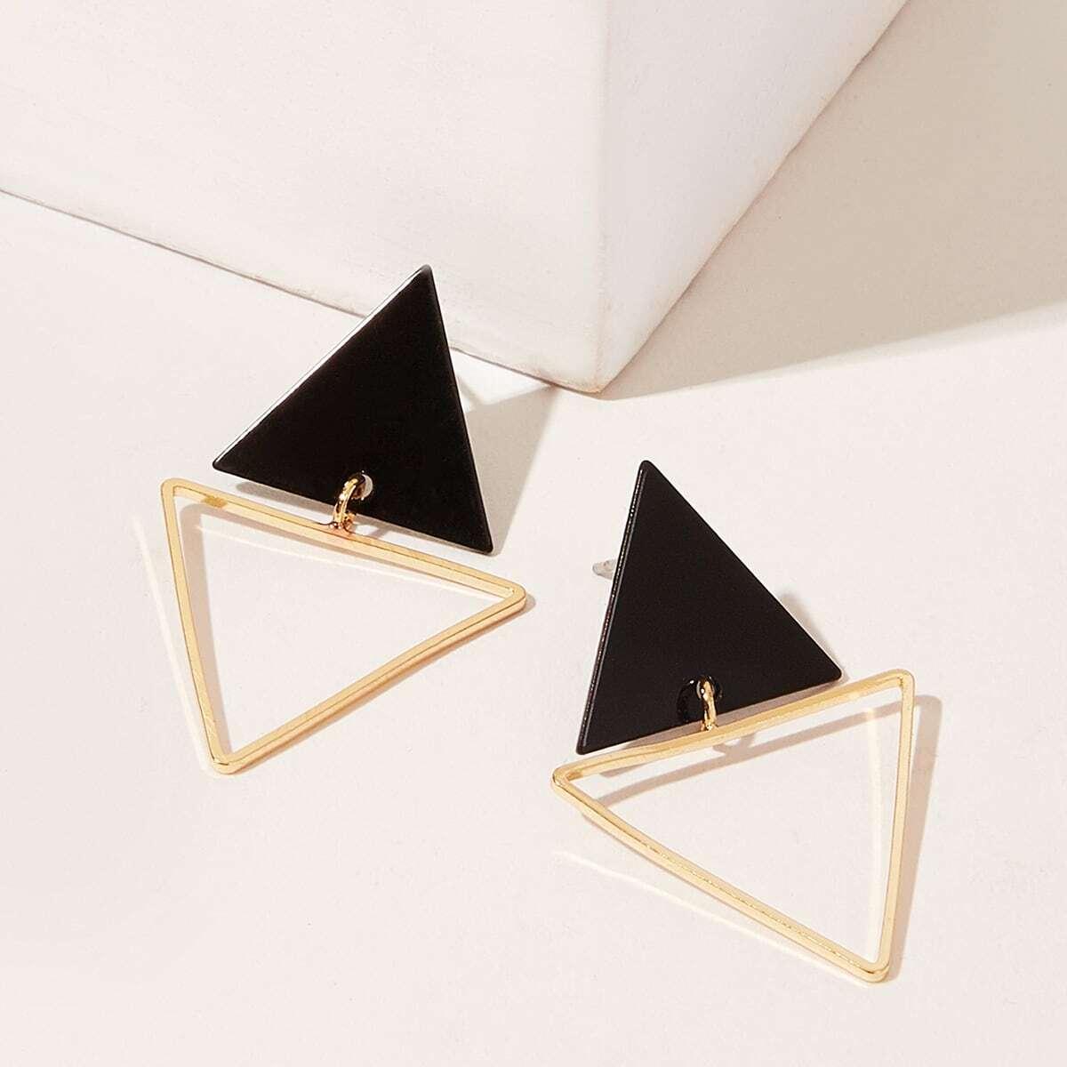 Серьги-Гвоздики В Форме Двойного Треугольника 1 Пара