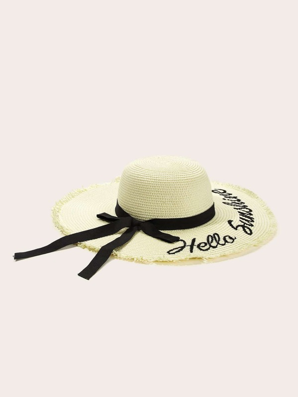 77e70eb92b0be Sombrero de ala ancha con borde crudo con bordado de letras