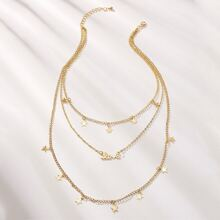 Star Charm Layered Charm Necklaces 1pc