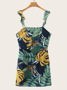 Tropical Print Open Back Cami Dress