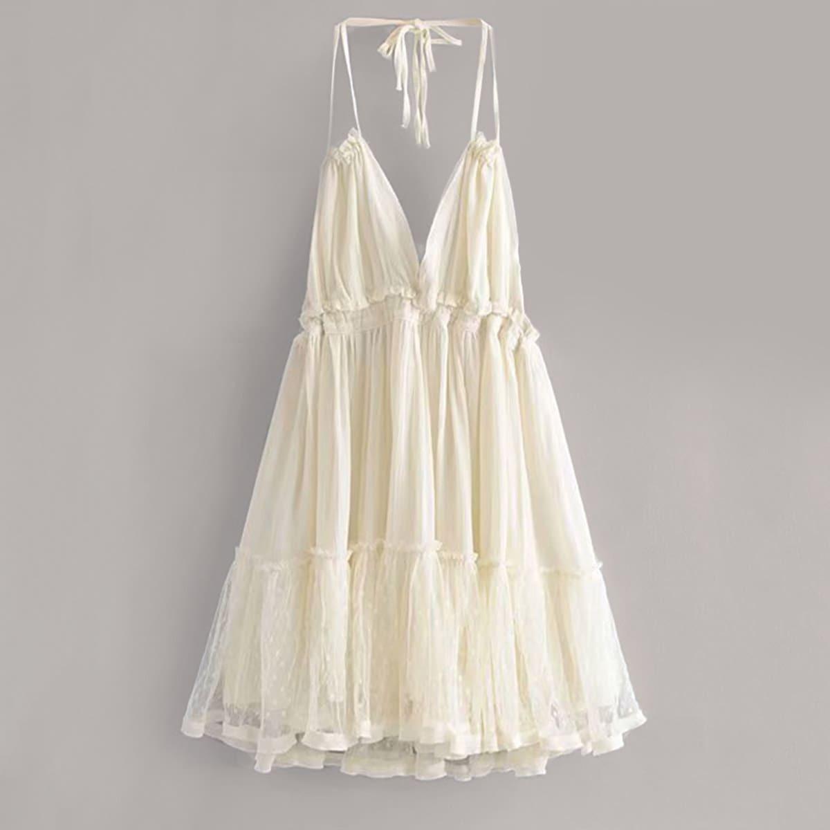 Платье-Халтер С Многослойными Оборками И Кружевной Вставкой
