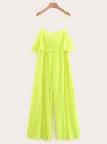 Neon Yellow Ruffle Trim Pleated Cami Jumpsuit