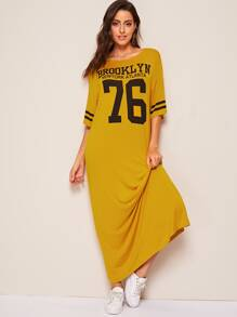 Varsity Print Drop Shoulder Tunic Dress