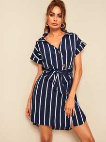 Striped Button Front Belted Shirt Dress