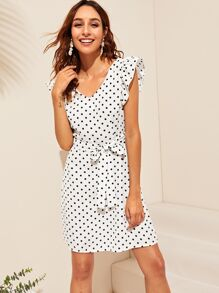 Polka Dot Cut Out Back Belted Dress