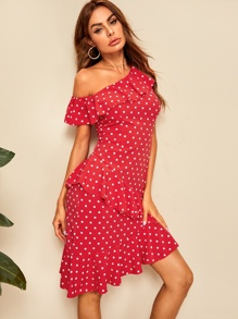 Polka Dot Ruffle Trim Asymmetrical Dress