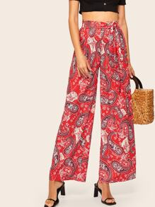 Paisley Belted Wide Leg Pants