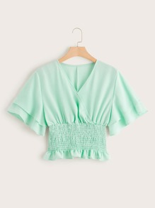 Plus Surplice Front Shirred Lettuce Frill Blouse