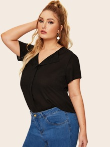Plus Curved Hem V-neck Blouse