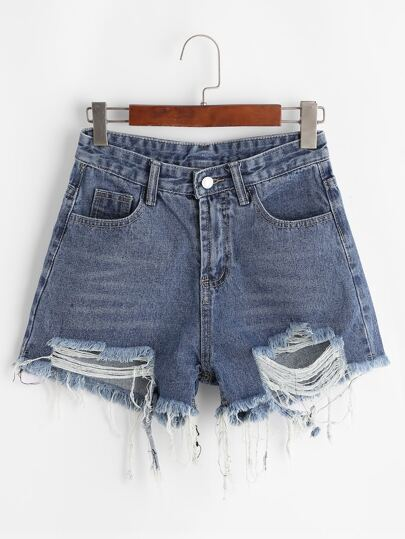 Shorts denim rotos bajo crudo-grande