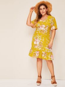 Plus Ruffle Hem Floral Print Dress