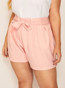 Plus Solid Knot Front Shorts