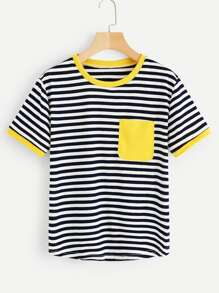 Plus Piping Trim Striped Tee