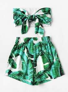 Plus Palm Tree Print Knot Tube Top With Shorts