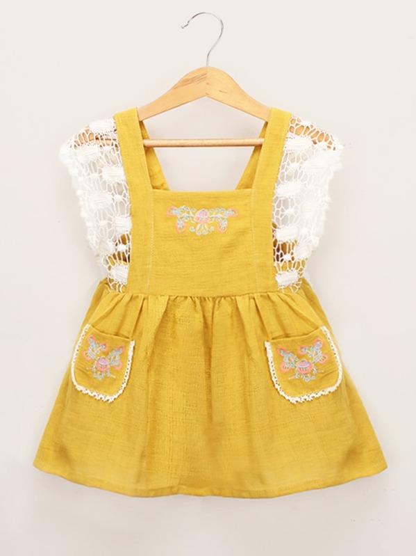 Toddler Girls Contrast Crochet Dual Pocket Embroidered Dress Shein Uk
