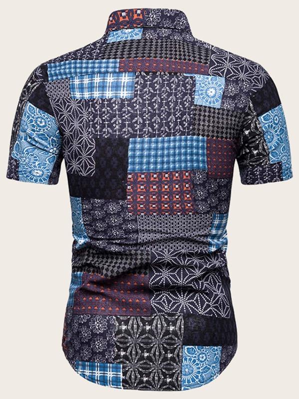 db00ee70c5153 Men Aztec Print Patchwork Shirt