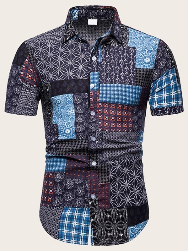 137e71fcd9 Men Aztec Print Patchwork Shirt