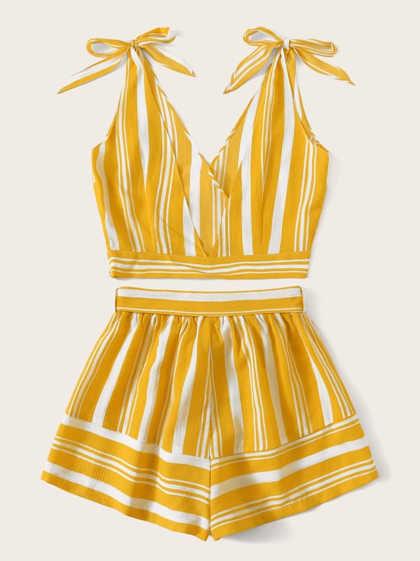 Image result for Striped Knot Surplice Cami Top & Belted Shorts