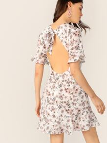 Ditsy Floral Tie Open Back Ruffle Dress