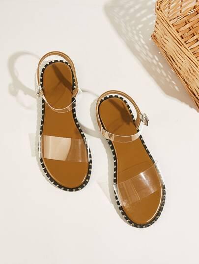ce48730856 Two Part Transparent Flat Sandals