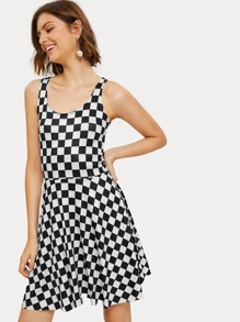 Checkerboard Print Flare Dress
