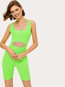 Neon Green Cut Out Waist Playsuit