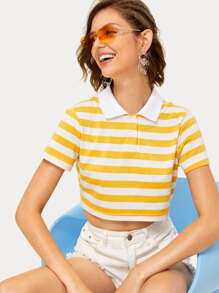 Striped Double Button Polo Neck Crop Tee