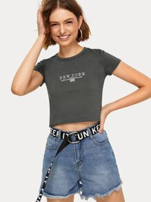 Letter Embroidery Crop Tee