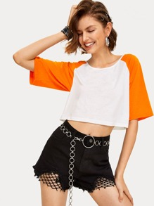 Cut And Sew Crop Tee