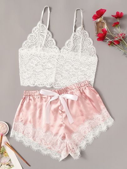 3e09b13e385 Floral Lace Cami Top With Satin Shorts