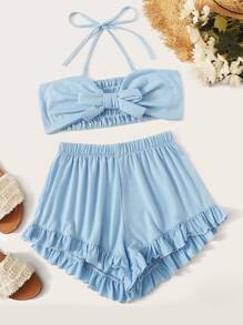 Tie Front Shirred Back Halter Top With Ruffle Shorts