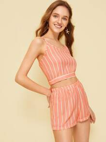 Striped Knot And Button Back Cami Top With Shorts