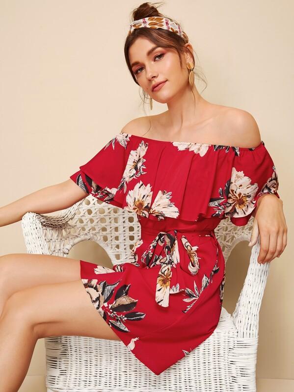 7c97c62f772 Floral Print Flounce Bardot Belted Dress