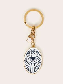 Hand & Eye Pattern Oval Double-sided Keychain