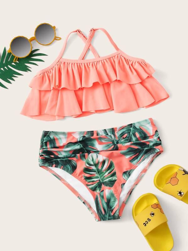 1955a7e34f Girls Tiered Layer Top With Random Palm Print Bikini | SHEIN UK
