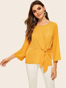 Solid Raglan Sleeve Knotted Front Top