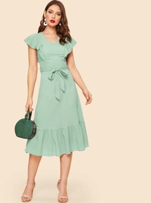 V Neck Ruffle Hem Belted Dress