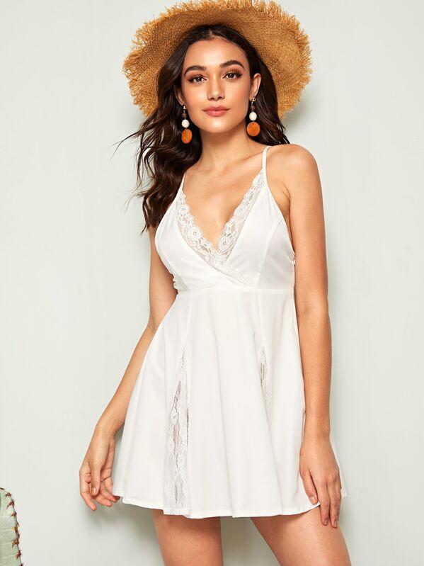 577d83ce28d9 Cheap Lace Trim Knotted Back Mini Slip Dress for sale Australia | SHEIN