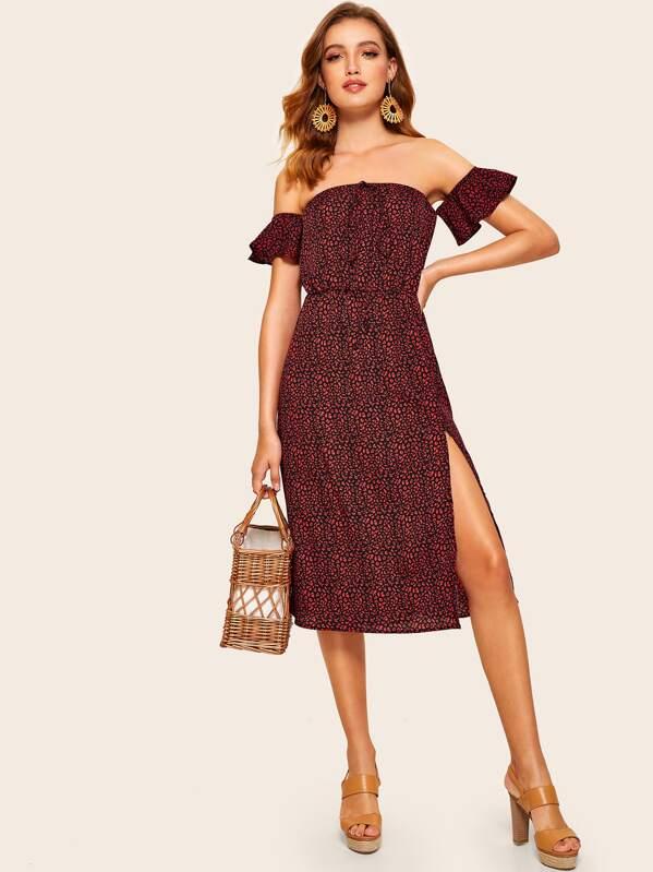 358c0ec289310 Dalmatian Print Off Shoulder Slit Hem Dress