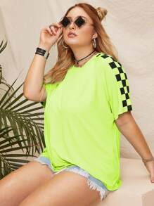 Plus Contrast Checkerboard Neon Lime Tee