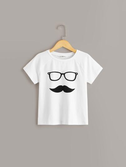 Boys Glasses & Moustache Print Tee