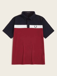 Men Embroidered Detail Color-block Polo Shirt