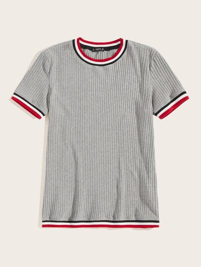 Men Striped Rib-knit Tee