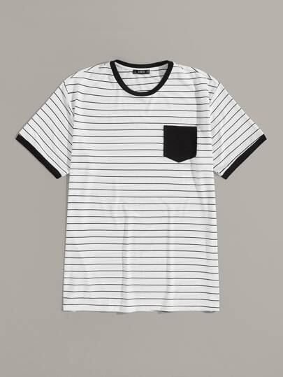 Guys Pocket Patch Striped Ringer Tee