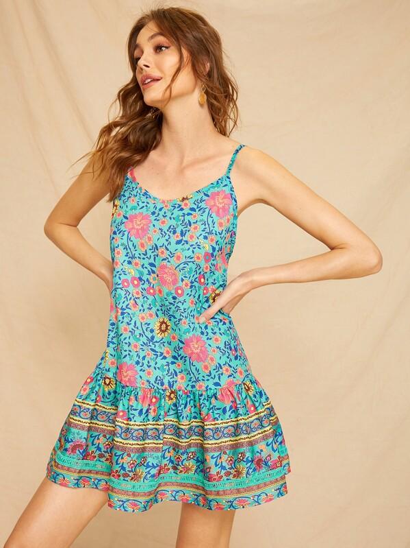e5ab9feeefd Ditsy Floral Print Ruffle Hem Cami Sundress