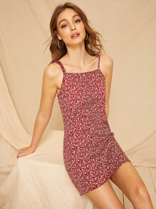 Button Front Ditsy Floral Knot Cami Dress