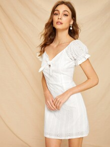 Eyelet Embroidery Knot Front Dress